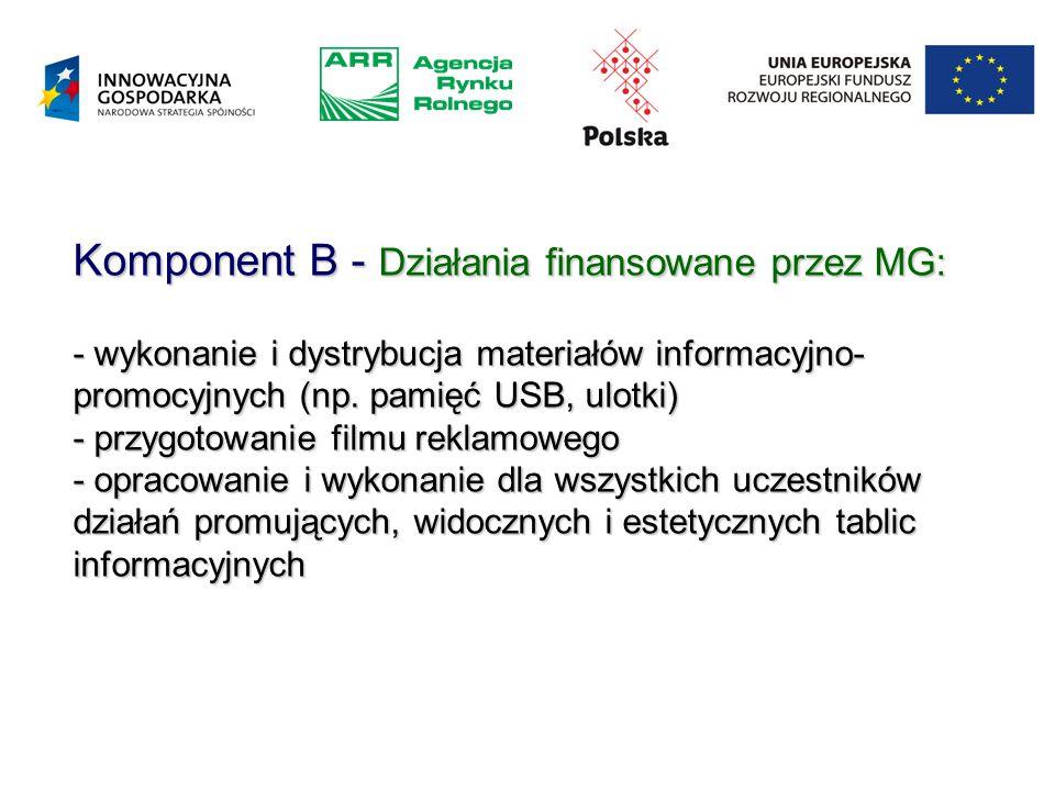 Komponent B - Działania finansowane przez MG: - wykonanie i dystrybucja materiałów informacyjno- promocyjnych (np.