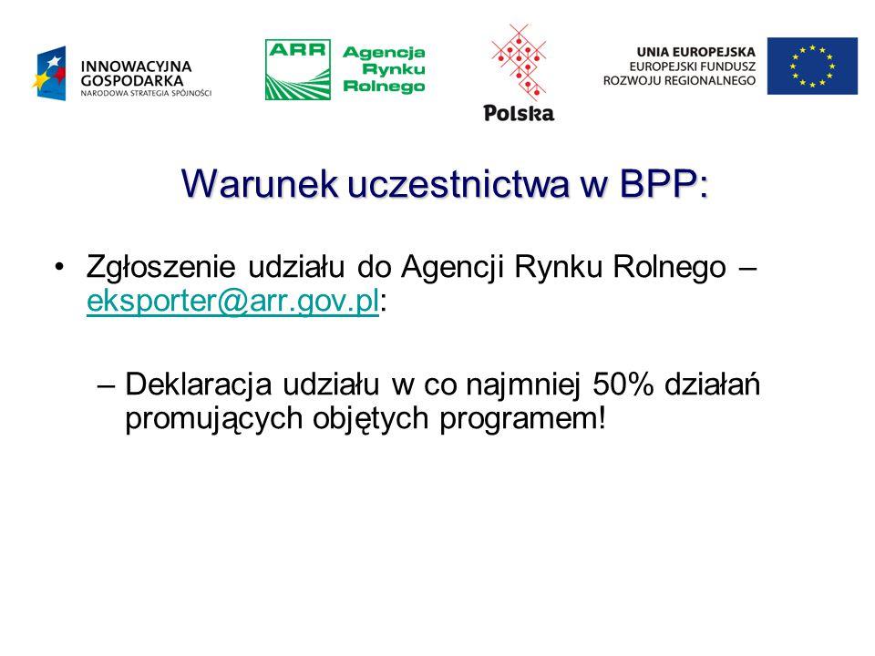 Warunek uczestnictwa w BPP: Zgłoszenie udziału do Agencji Rynku Rolnego – eksporter@arr.gov.pl: eksporter@arr.gov.pl –Deklaracja udziału w co najmniej 50% działań promujących objętych programem!