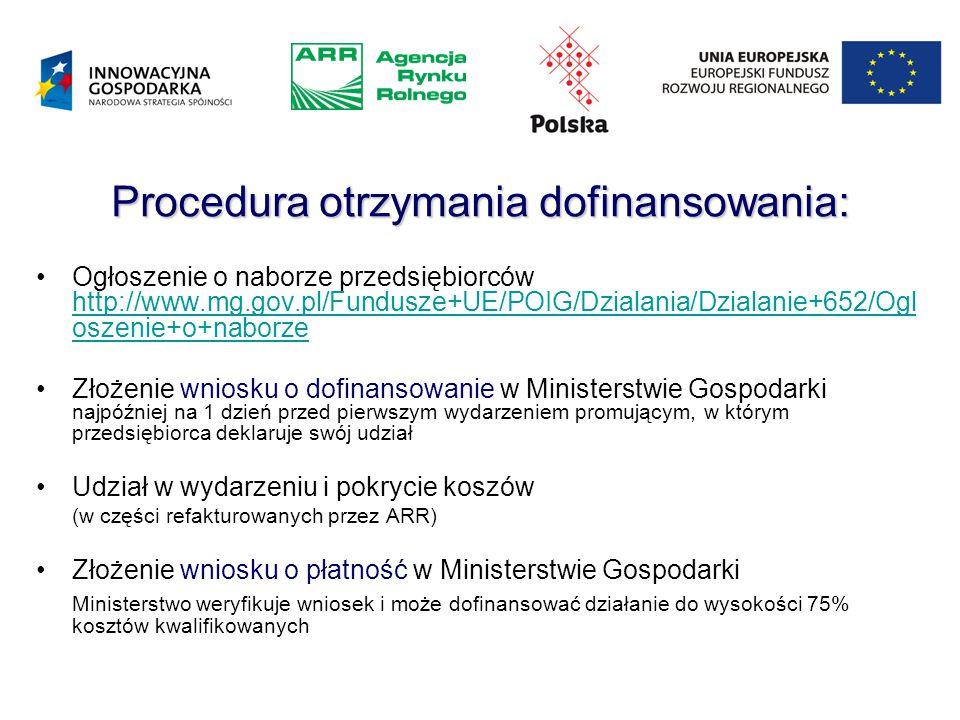 Procedura otrzymania dofinansowania: Ogłoszenie o naborze przedsiębiorców http://www.mg.gov.pl/Fundusze+UE/POIG/Dzialania/Dzialanie+652/Ogl oszenie+o+naborze http://www.mg.gov.pl/Fundusze+UE/POIG/Dzialania/Dzialanie+652/Ogl oszenie+o+naborze Złożenie wniosku o dofinansowanie w Ministerstwie Gospodarki najpóźniej na 1 dzień przed pierwszym wydarzeniem promującym, w którym przedsiębiorca deklaruje swój udział Udział w wydarzeniu i pokrycie koszów (w części refakturowanych przez ARR) Złożenie wniosku o płatność w Ministerstwie Gospodarki Ministerstwo weryfikuje wniosek i może dofinansować działanie do wysokości 75% kosztów kwalifikowanych