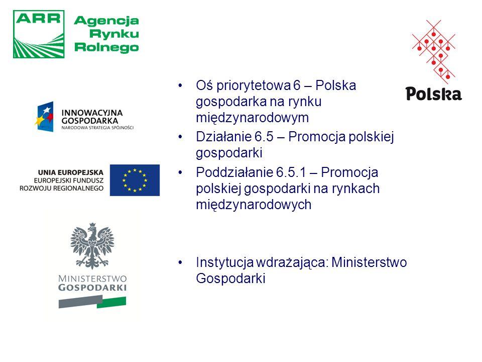 Oś priorytetowa 6 – Polska gospodarka na rynku międzynarodowym Działanie 6.5 – Promocja polskiej gospodarki Poddziałanie 6.5.1 – Promocja polskiej gospodarki na rynkach międzynarodowych Instytucja wdrażająca: Ministerstwo Gospodarki