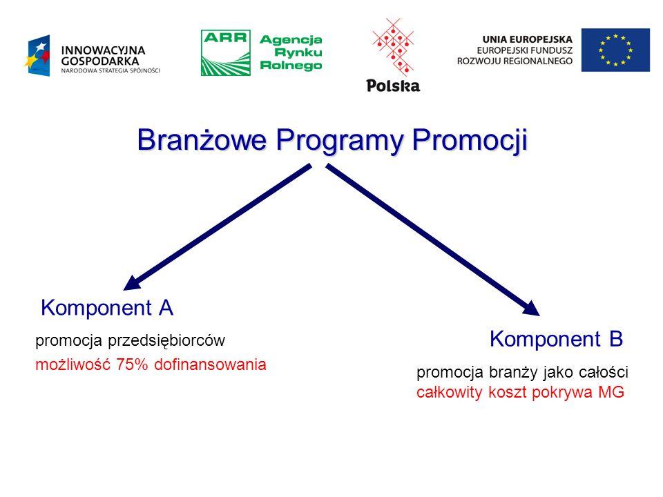 Branżowe Programy Promocji Komponent B promocja branży jako całości całkowity koszt pokrywa MG Komponent A promocja przedsiębiorców możliwość 75% dofinansowania