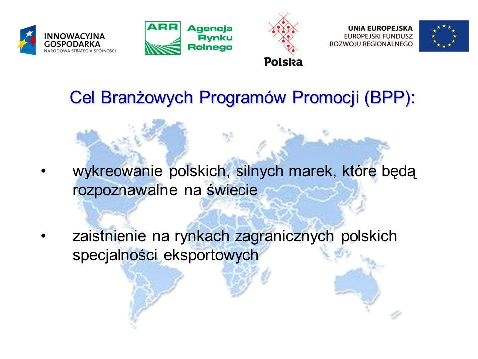 Cel Branżowych Programów Promocji (BPP): wykreowanie polskich, silnych marek, które będą rozpoznawalne na świecie zaistnienie na rynkach zagranicznych polskich specjalności eksportowych