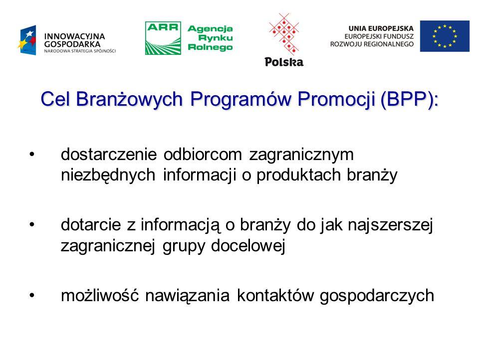 Cel Branżowych Programów Promocji (BPP): dostarczenie odbiorcom zagranicznym niezbędnych informacji o produktach branży dotarcie z informacją o branży do jak najszerszej zagranicznej grupy docelowej możliwość nawiązania kontaktów gospodarczych