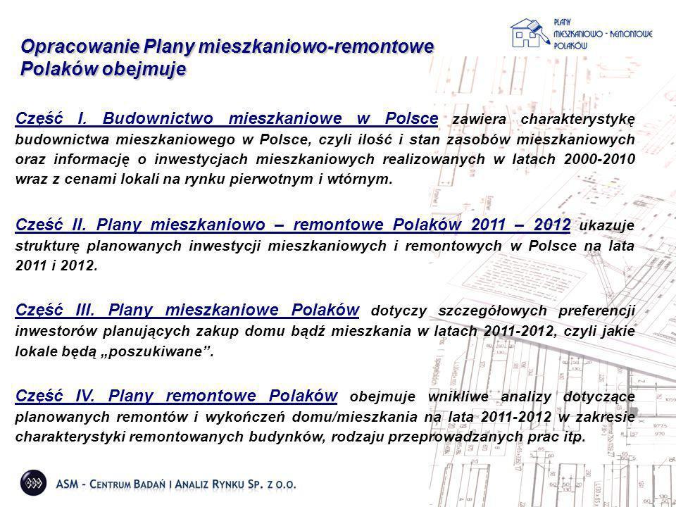 Opracowanie Plany mieszkaniowo-remontowe Polaków obejmuje Część I. Budownictwo mieszkaniowe w Polsce zawiera charakterystykę budownictwa mieszkanioweg