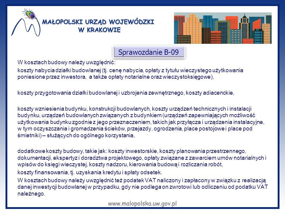 W kosztach budowy należy uwzględnić: koszty nabycia działki budowlanej (tj. cenę nabycia, opłaty z tytułu wieczystego użytkowania poniesione przez inw