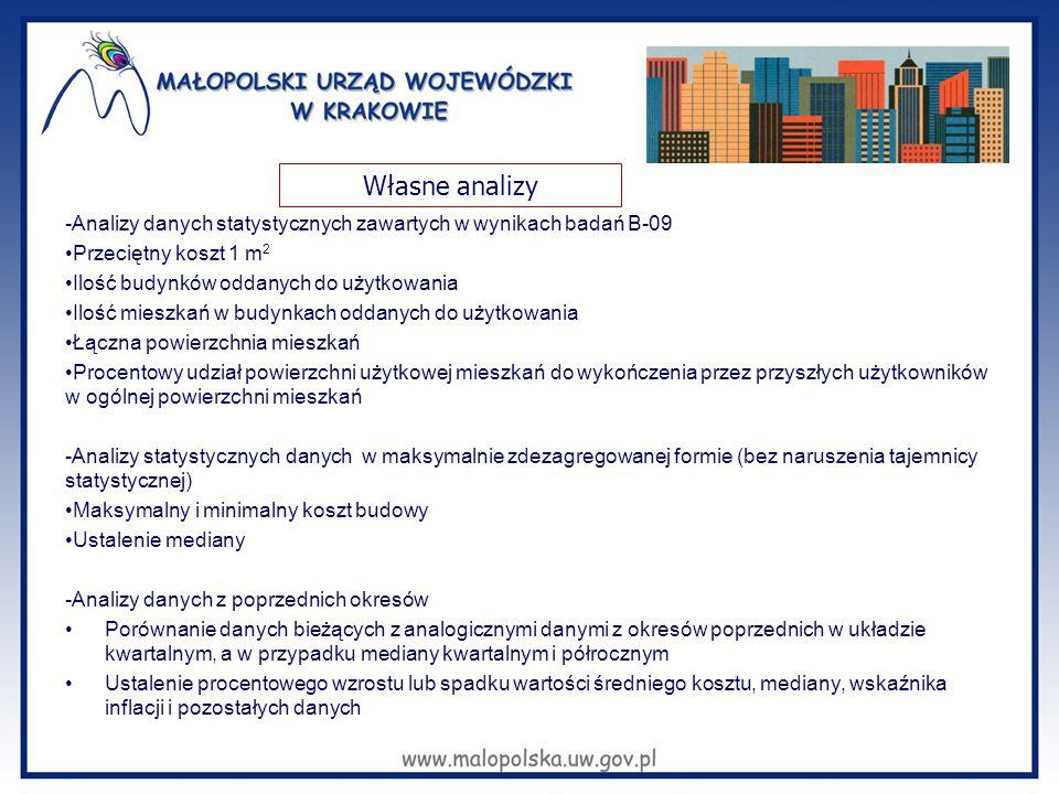 -Analizy danych statystycznych zawartych w wynikach badań B-09 Przeciętny koszt 1 m 2 Ilość budynków oddanych do użytkowania Ilość mieszkań w budynkac