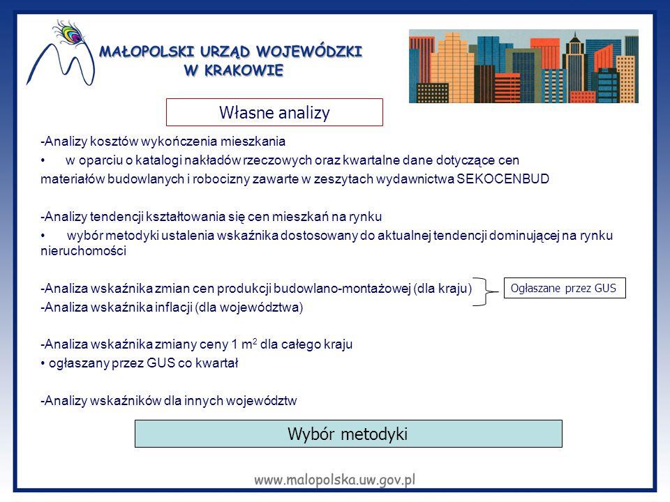 -Analizy kosztów wykończenia mieszkania w oparciu o katalogi nakładów rzeczowych oraz kwartalne dane dotyczące cen materiałów budowlanych i robocizny