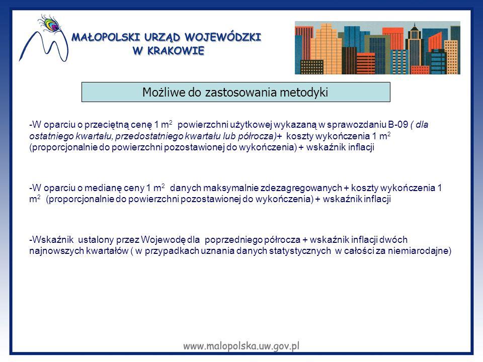 -W oparciu o przeciętną cenę 1 m 2 powierzchni użytkowej wykazaną w sprawozdaniu B-09 ( dla ostatniego kwartału, przedostatniego kwartału lub półrocza