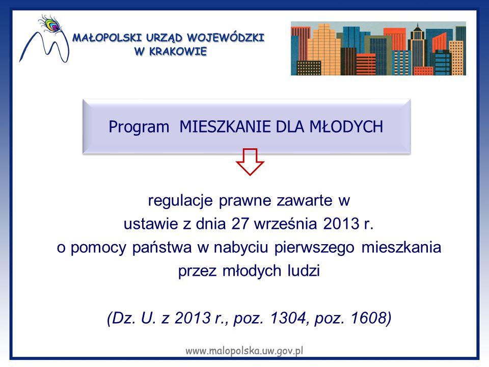 regulacje prawne zawarte w ustawie z dnia 27 września 2013 r. o pomocy państwa w nabyciu pierwszego mieszkania przez młodych ludzi (Dz. U. z 2013 r.,