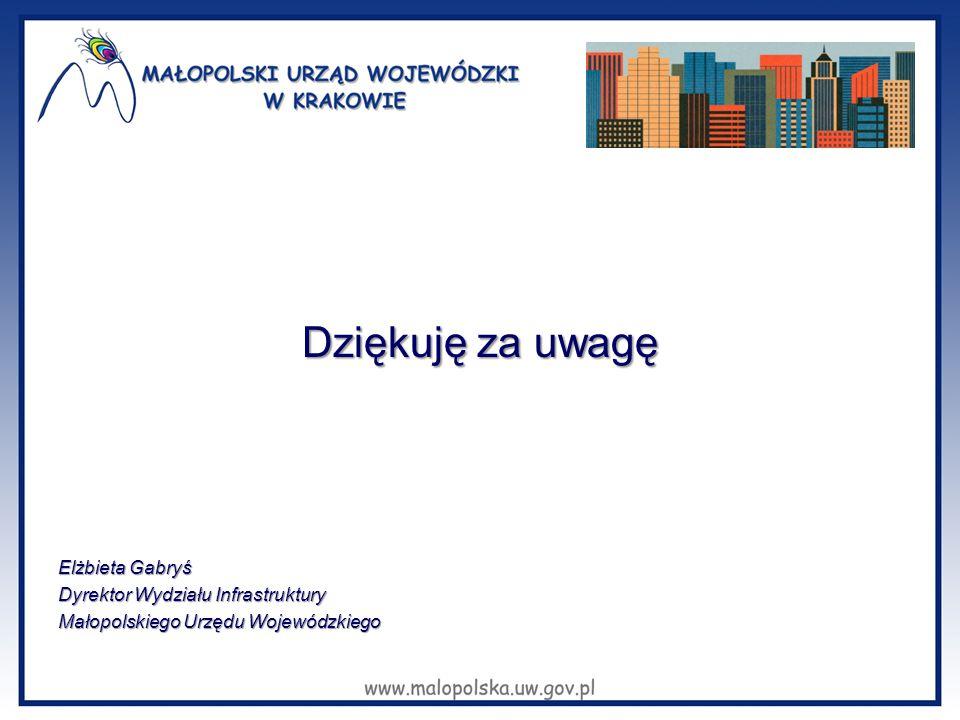 Dziękuję za uwagę Elżbieta Gabryś Dyrektor Wydziału Infrastruktury Małopolskiego Urzędu Wojewódzkiego