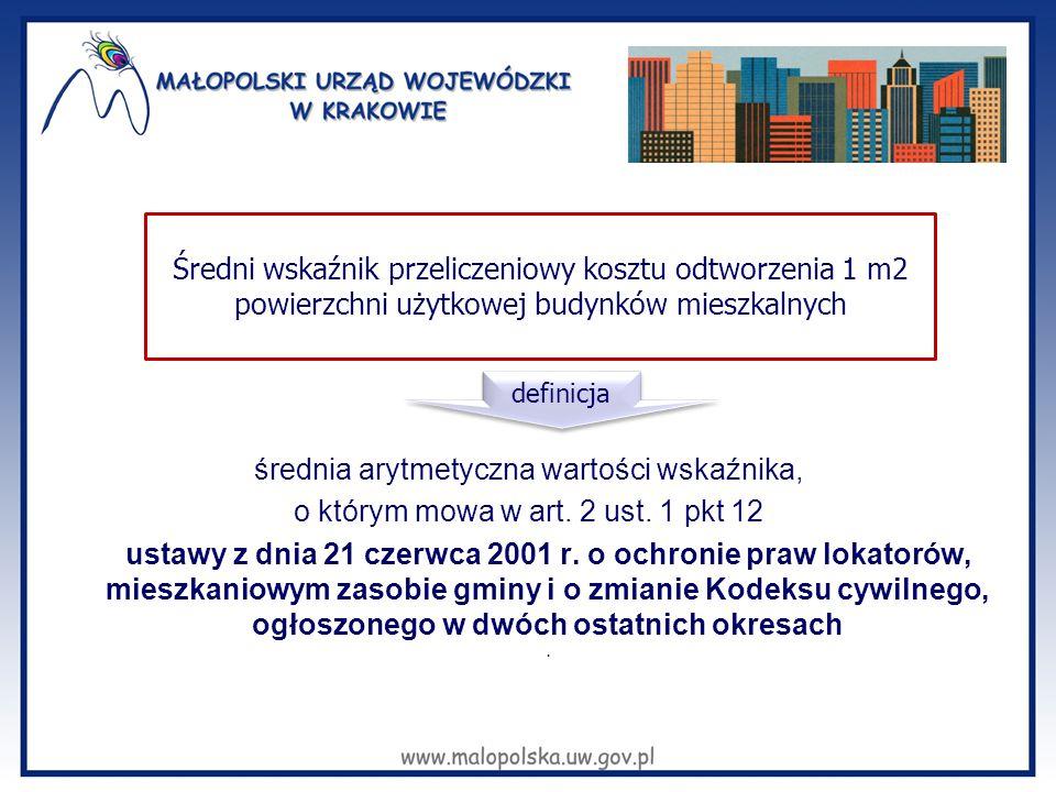 średnia arytmetyczna wartości wskaźnika, o którym mowa w art. 2 ust. 1 pkt 12 ustawy z dnia 21 czerwca 2001 r. o ochronie praw lokatorów, mieszkaniowy