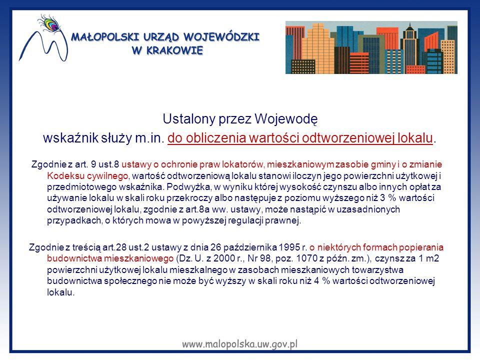 Ustalony przez Wojewodę wskaźnik służy m.in. do obliczenia wartości odtworzeniowej lokalu. Zgodnie z art. 9 ust.8 ustawy o ochronie praw lokatorów, mi