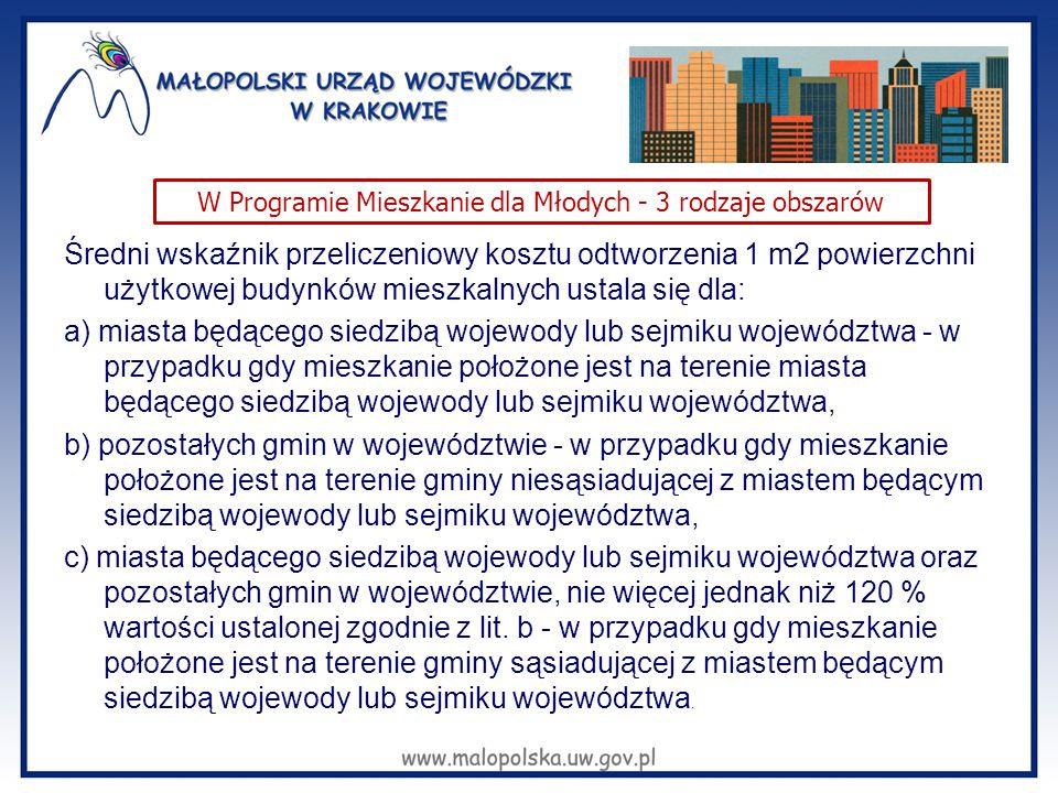 Średni wskaźnik przeliczeniowy kosztu odtworzenia 1 m2 powierzchni użytkowej budynków mieszkalnych ustala się dla: a) miasta będącego siedzibą wojewod