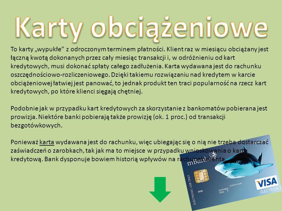 """Są to karty, które umożliwiają skorzystanie z przyznanego przez bank limitu kredytowego przypisanego do karty. W większości przypadków są to karty """"wy"""