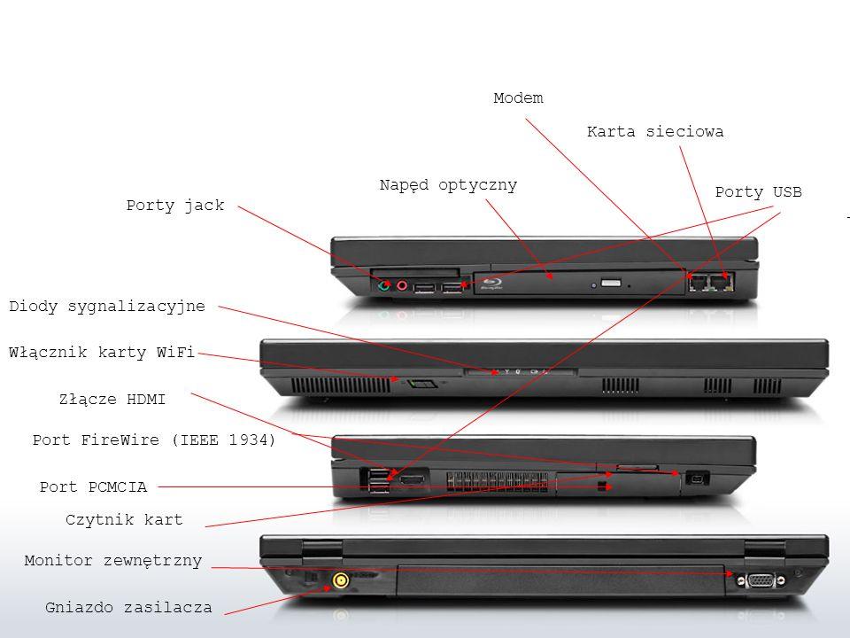 Gniazdo zasilacza Monitor zewnętrzny Porty USB Czytnik kart Port PCMCIA Port FireWire (IEEE 1934) Złącze HDMI Diody sygnalizacyjne Włącznik karty WiFi Porty jack Napęd optyczny Modem Karta sieciowa