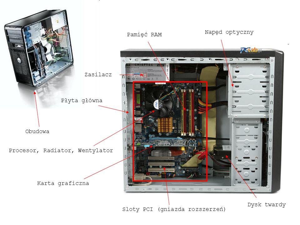 Zasilacz Obudowa Płyta główna Procesor, Radiator, Wentylator Pamięć RAM Karta graficzna Dysk twardy Napęd optyczny Sloty PCI (gniazda rozszerzeń)