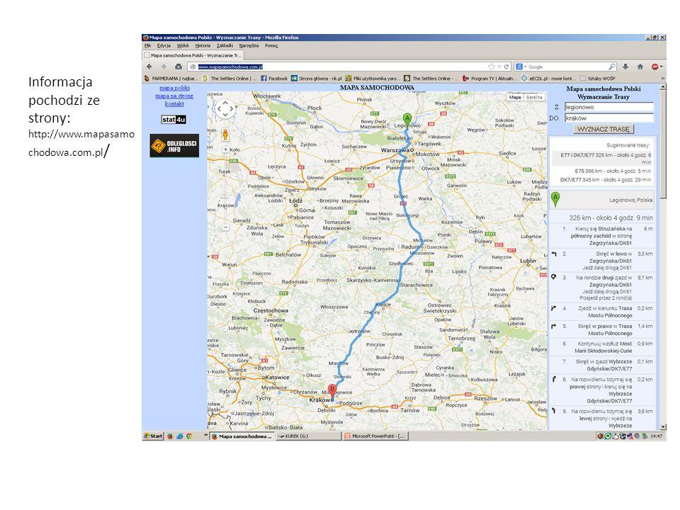 Informacja pochodzi ze strony: http://www.mapasamo chodowa.com.pl /