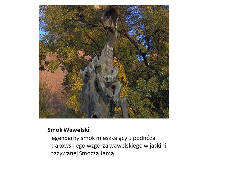 Smok Wawelski legendarny smok mieszkający u podnóża krakowskiego wzgórza wawelskiego w jaskini nazywanej Smoczą Jamą