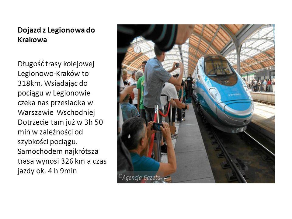 Dojazd z Legionowa do Krakowa Długość trasy kolejowej Legionowo-Kraków to 318km. Wsiadając do pociągu w Legionowie czeka nas przesiadka w Warszawie Ws