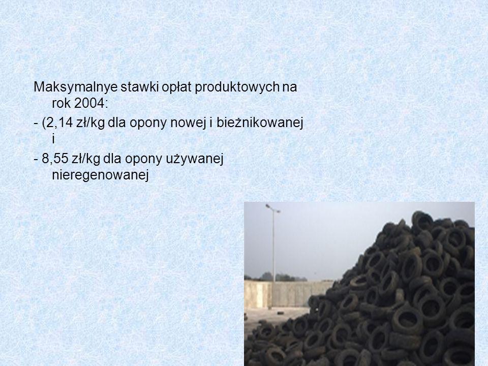Maksymalnye stawki opłat produktowych na rok 2004: - (2,14 zł/kg dla opony nowej i bieżnikowanej i - 8,55 zł/kg dla opony używanej nieregenowanej