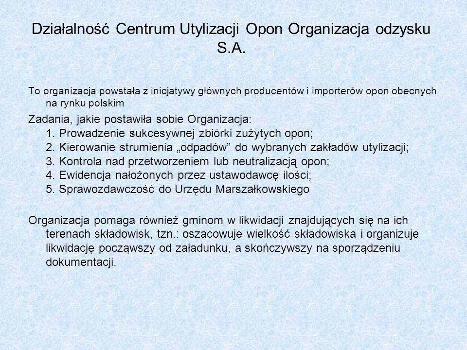 Działalność Centrum Utylizacji Opon Organizacja odzysku S.A. To organizacja powstała z inicjatywy głównych producentów i importerów opon obecnych na r