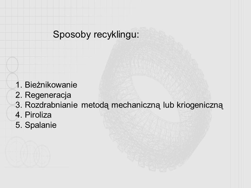 Sposoby recyklingu: 1.Bieżnikowanie 2.Regeneracja 3.Rozdrabnianie metodą mechaniczną lub kriogeniczną 4.Piroliza 5.Spalanie