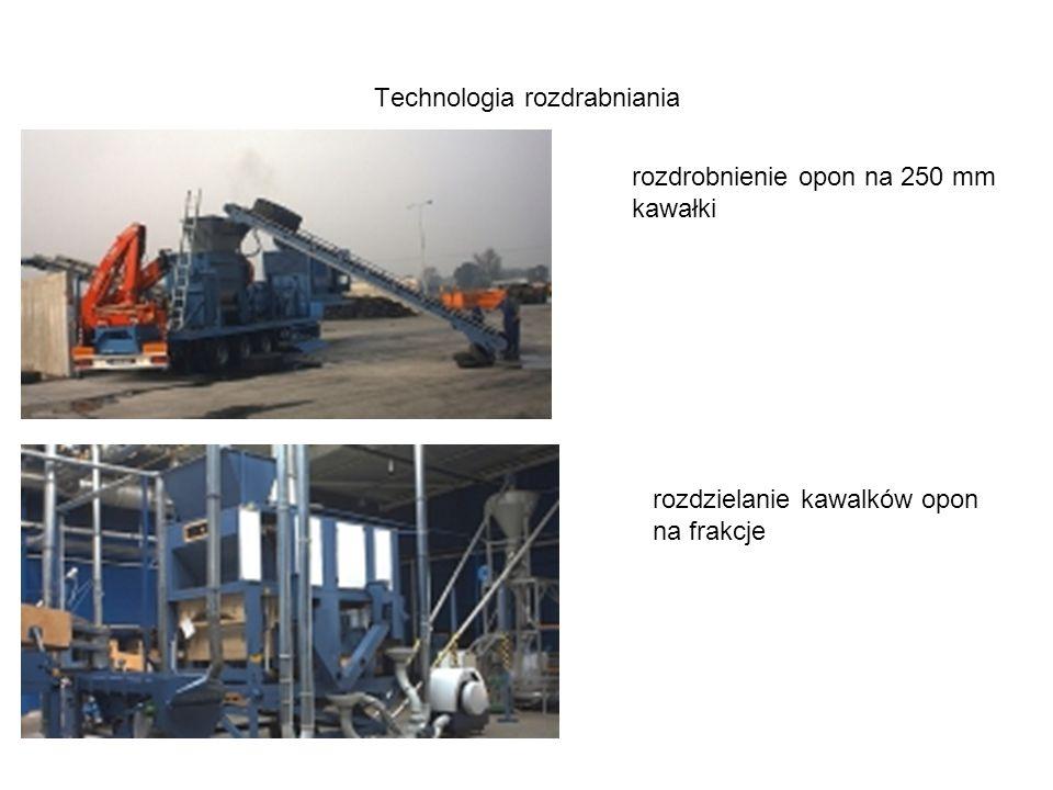 Technologia rozdrabniania rozdrobnienie opon na 250 mm kawałki rozdzielanie kawalków opon na frakcje