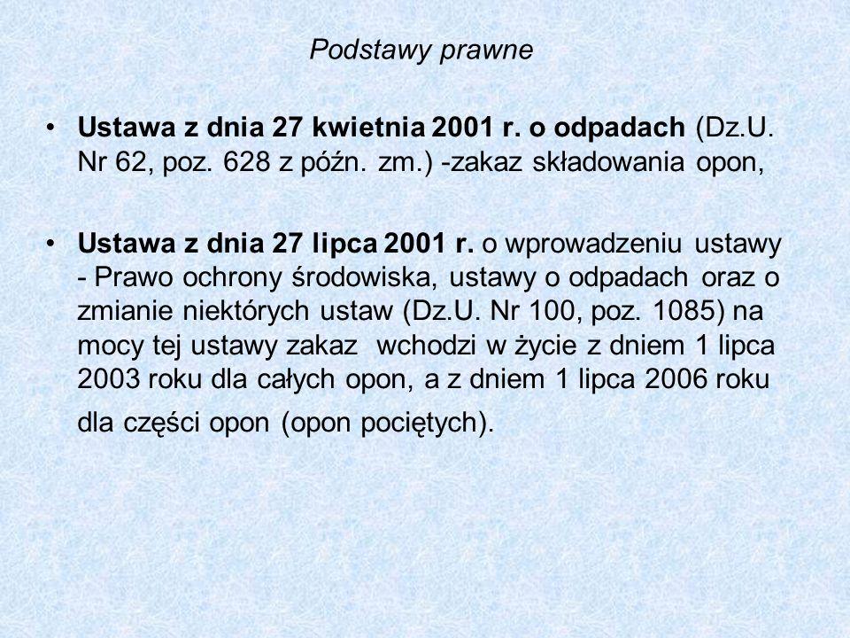 Podstawy prawne Ustawa z dnia 27 kwietnia 2001 r. o odpadach (Dz.U. Nr 62, poz. 628 z późn. zm.) -zakaz składowania opon, Ustawa z dnia 27 lipca 2001