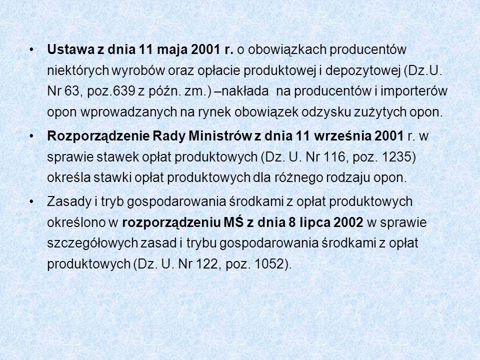 Ustawa z dnia 11 maja 2001 r. o obowiązkach producentów niektórych wyrobów oraz opłacie produktowej i depozytowej (Dz.U. Nr 63, poz.639 z późn. zm.) –