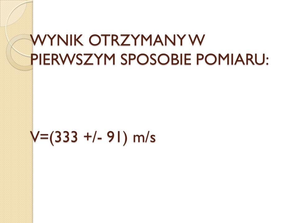 WYNIK OTRZYMANY W PIERWSZYM SPOSOBIE POMIARU: V=(333 +/- 91) m/s