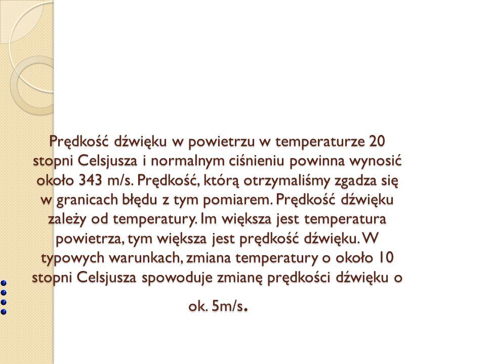 Prędkość dźwięku w powietrzu w temperaturze 20 stopni Celsjusza i normalnym ciśnieniu powinna wynosić około 343 m/s. Prędkość, którą otrzymaliśmy zgad