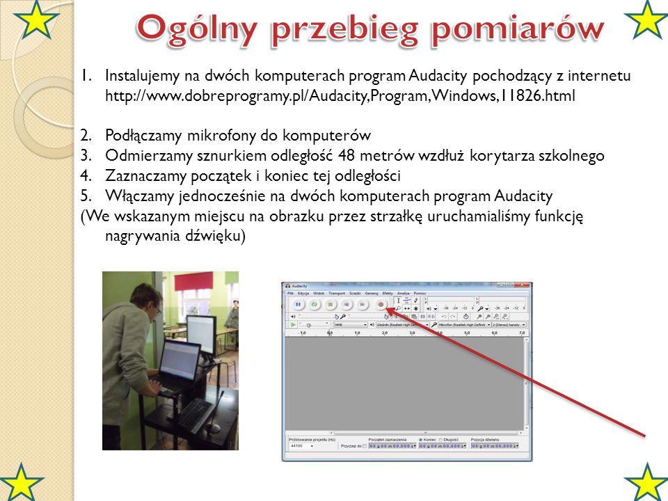 1.Instalujemy na dwóch komputerach program Audacity pochodzący z internetu http://www.dobreprogramy.pl/Audacity,Program,Windows,11826.html 2.Podłączam