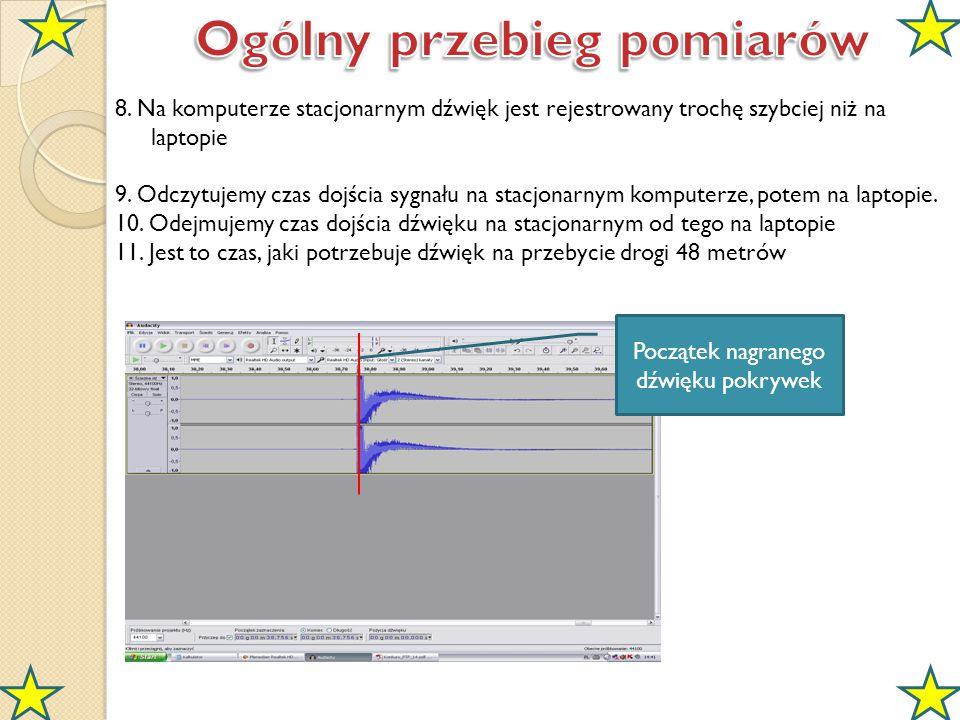 8. Na komputerze stacjonarnym dźwięk jest rejestrowany trochę szybciej niż na laptopie 9. Odczytujemy czas dojścia sygnału na stacjonarnym komputerze,