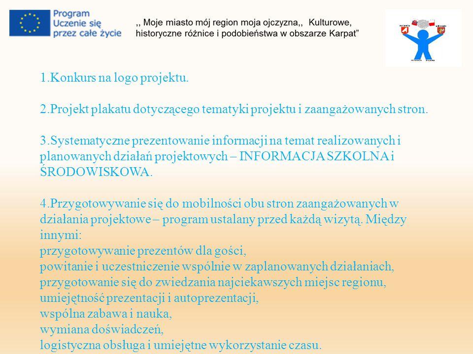 1.Konkurs na logo projektu. 2.Projekt plakatu dotyczącego tematyki projektu i zaangażowanych stron.