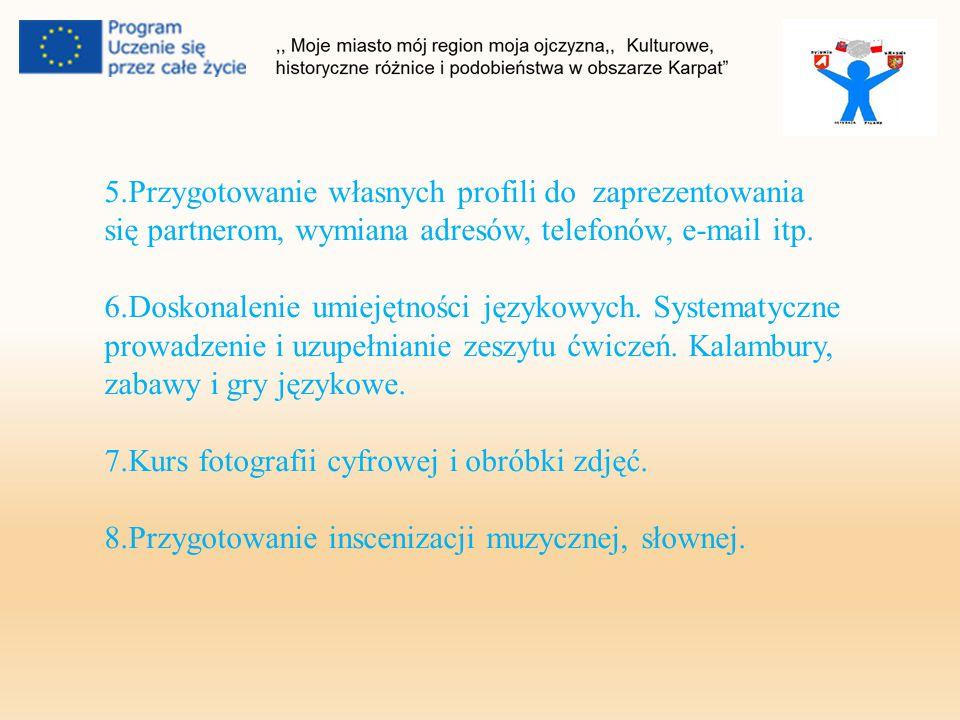 5.Przygotowanie własnych profili do zaprezentowania się partnerom, wymiana adresów, telefonów, e-mail itp.