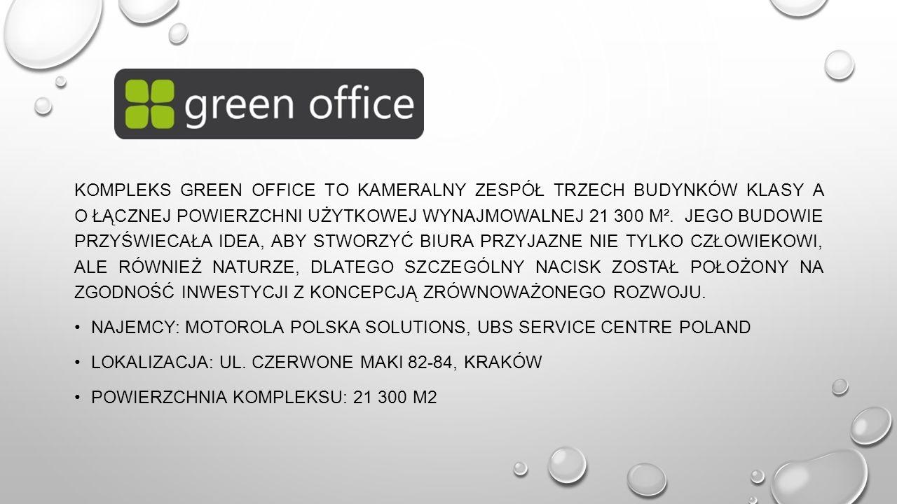KOMPLEKS GREEN OFFICE TO KAMERALNY ZESPÓŁ TRZECH BUDYNKÓW KLASY A O ŁĄCZNEJ POWIERZCHNI UŻYTKOWEJ WYNAJMOWALNEJ 21 300 M².