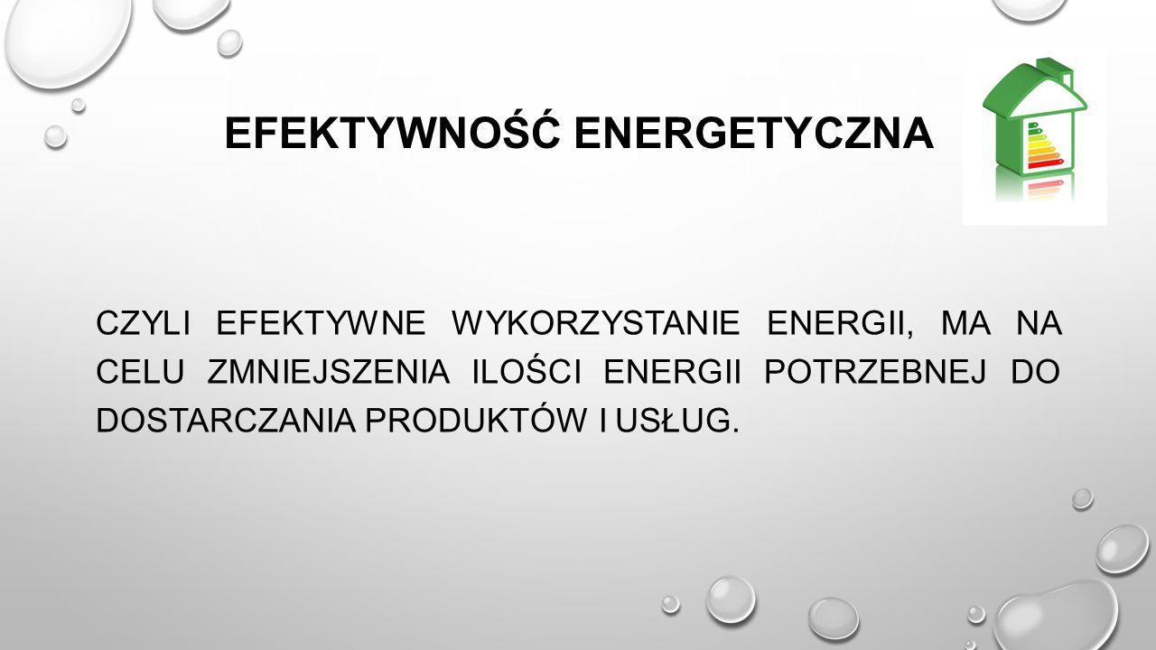 EFEKTYWNOŚĆ ENERGETYCZNA CZYLI EFEKTYWNE WYKORZYSTANIE ENERGII, MA NA CELU ZMNIEJSZENIA ILOŚCI ENERGII POTRZEBNEJ DO DOSTARCZANIA PRODUKTÓW I USŁUG.