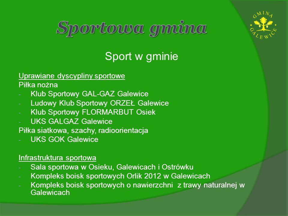 Sport w gminie Uprawiane dyscypliny sportowe Piłka nożna - Klub Sportowy GAL-GAZ Galewice - Ludowy Klub Sportowy ORZEŁ Galewice - Klub Sportowy FLORMA