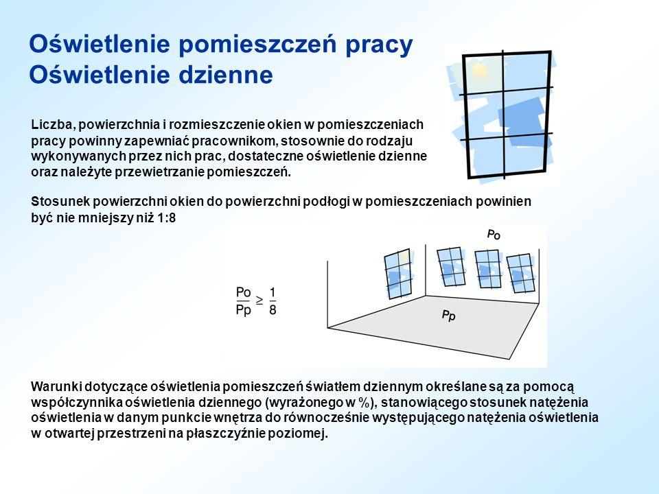 Liczba, powierzchnia i rozmieszczenie okien w pomieszczeniach pracy powinny zapewniać pracownikom, stosownie do rodzaju wykonywanych przez nich prac,