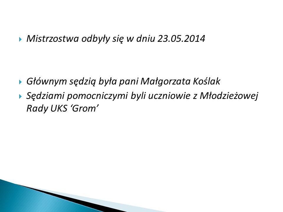  Mistrzostwa odbyły się w dniu 23.05.2014  Głównym sędzią była pani Małgorzata Koślak  Sędziami pomocniczymi byli uczniowie z Młodzieżowej Rady UKS