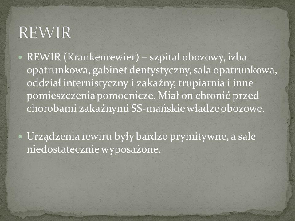 REWIR (Krankenrewier) – szpital obozowy, izba opatrunkowa, gabinet dentystyczny, sala opatrunkowa, oddział internistyczny i zakaźny, trupiarnia i inne pomieszczenia pomocnicze.