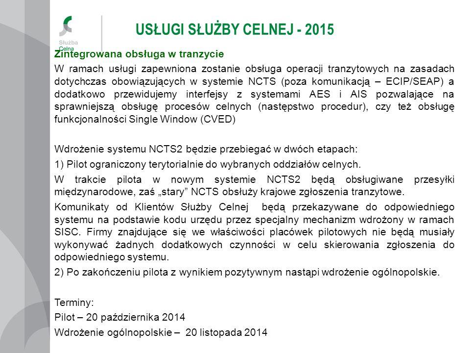 USŁUGI SŁUŻBY CELNEJ - 2015 Zintegrowana obsługa w eksporcie W ramach usługi zapewniona zostanie obsługa operacji wywozowych na zasadach dotychczas obowiązujących w systemie ECS2 (poza komunikacją – ECIP/SEAP).