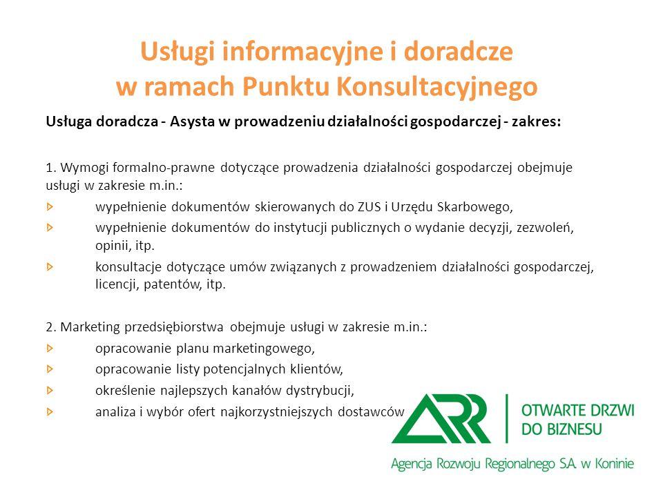 Usługa doradcza - Asysta w prowadzeniu działalności gospodarczej - zakres: 1.