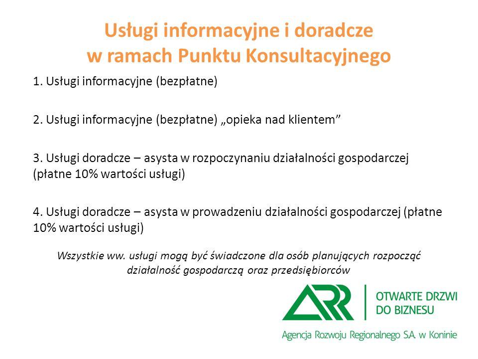 Usługi informacyjne i doradcze w ramach Punktu Konsultacyjnego 1.