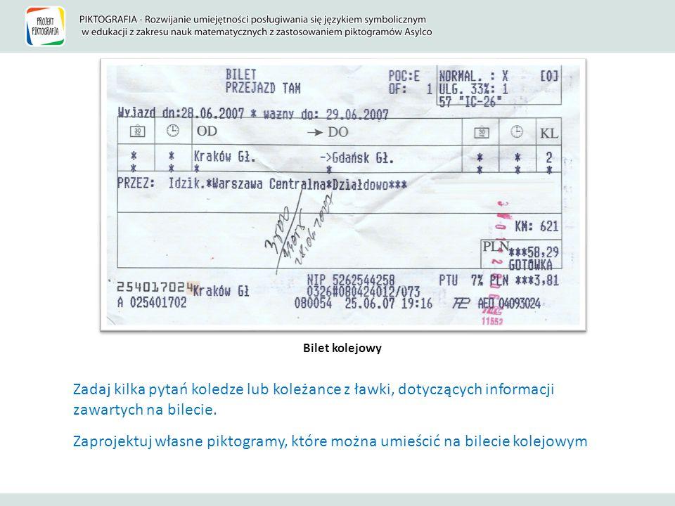 Bilet kolejowy Zadaj kilka pytań koledze lub koleżance z ławki, dotyczących informacji zawartych na bilecie. Zaprojektuj własne piktogramy, które możn