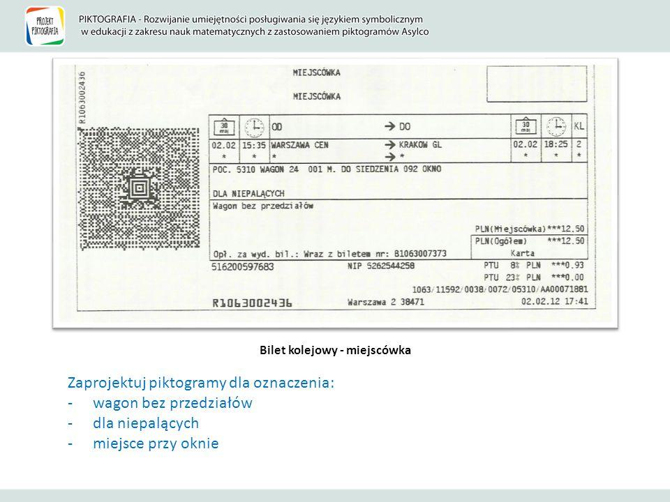 Bilet kolejowy - miejscówka Zaprojektuj piktogramy dla oznaczenia: -wagon bez przedziałów -dla niepalących -miejsce przy oknie