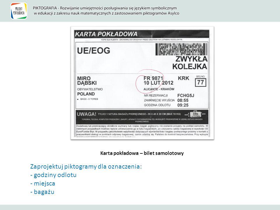 Karta pokładowa – bilet samolotowy Zaprojektuj piktogramy dla oznaczenia: - godziny odlotu - miejsca - bagażu