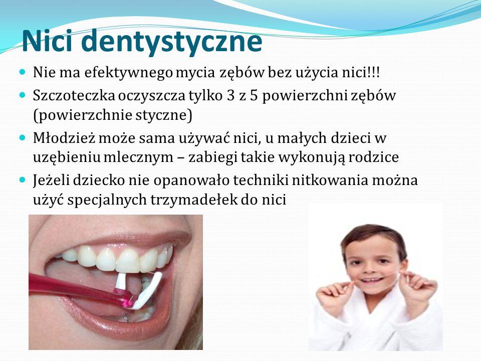 Nici dentystyczne Nie ma efektywnego mycia zębów bez użycia nici!!! Szczoteczka oczyszcza tylko 3 z 5 powierzchni zębów (powierzchnie styczne) Młodzie