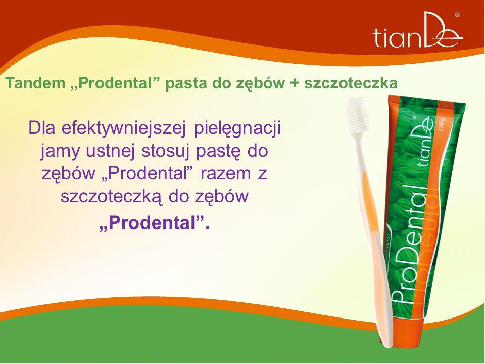 """Tandem """"Prodental"""" pasta do zębów + szczoteczka Dla efektywniejszej pielęgnacji jamy ustnej stosuj pastę do zębów """"Prodental"""" razem z szczoteczką do z"""
