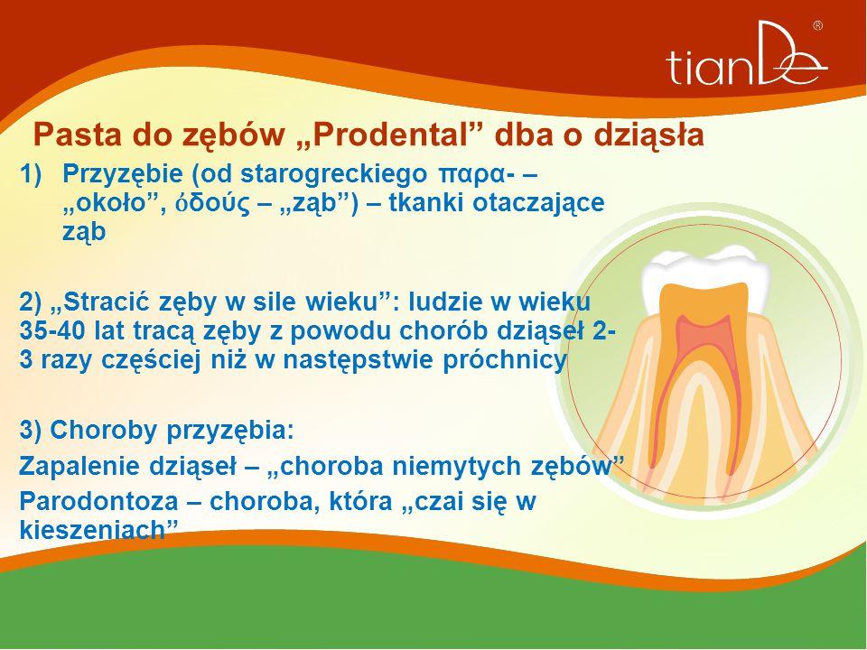 """Pasta do zębów """"Prodental"""" dba o dziąsła 1)Przyzębie (od starogreckiego παρα- – """"około"""", ὀ δούς – """"ząb"""") – tkanki otaczające ząb 2) """"Stracić zęby w si"""